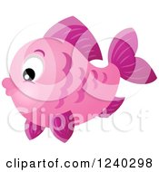 Clipart Of A Pink Fish Royalty Free Vector Illustration
