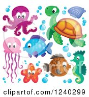 Clipart Of Cute Happy Sea Creatures Royalty Free Vector Illustration by visekart