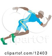 African American Sprinter Man Running During A Race People Clipart Illustration