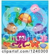 Clipart Of Happy Sea Creatures Underwater Royalty Free Vector Illustration