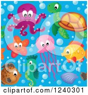 Clipart Of A Seamless Background Of Sea Creatures In Water Royalty Free Vector Illustration by visekart