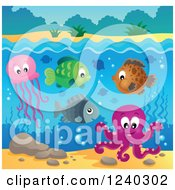 Clipart Of Happy Sea Creatures Under The Waters Surface Royalty Free Vector Illustration by visekart