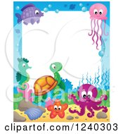 Clipart Of A Border Of Sea Creatures Royalty Free Vector Illustration by visekart