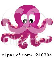 Clipart Of A Happy Purple Octopus Royalty Free Vector Illustration by visekart