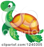 Clipart Of A Cute Happy Sea Turtle Royalty Free Vector Illustration