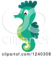 Clipart Of A Cute Green Seahorse Royalty Free Vector Illustration by visekart