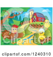 Clipart Of A Barnyard With A Hen And Chicks Royalty Free Vector Illustration
