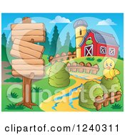 Clipart Of A Barnyard With A Chick And Signs Royalty Free Vector Illustration