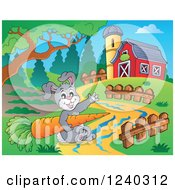 Clipart Of A Rabbit Holding A Carrot In A Barnyard Royalty Free Vector Illustration