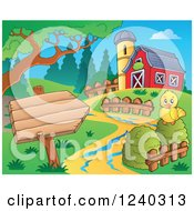 Clipart Of A Barnyard With A Chick And Sign Royalty Free Vector Illustration