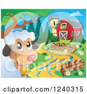 Clipart Of A Barnyard With A Sheep Royalty Free Vector Illustration