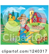 Clipart Of A Farmer Guy With A Pitchfork Pile Of Hay In A Barnyard Royalty Free Vector Illustration