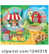 Clipart Of A Farmer Guy At A Produce Stand In A Barnyard Royalty Free Vector Illustration