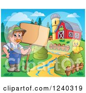 Clipart Of A Farmer Guy And Chick With A Sign In A Barnyard Royalty Free Vector Illustration