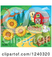 Clipart Of A Barnyard With A Chicken And Sunflowers Royalty Free Vector Illustration