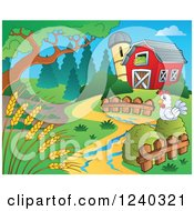 Clipart Of A Barnyard With A Chicken And Wheat Royalty Free Vector Illustration