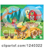Clipart Of A Farmer Guy With A Dog On A Horse Cart Royalty Free Vector Illustration