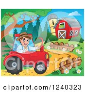 Clipart Of A Farmer Guy Operating A Tractor In A Barnyard Royalty Free Vector Illustration