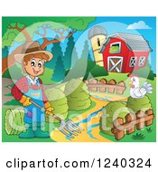 Clipart Of A Farmer Guy With A Pitchfork And Chicken In A Barnyard Royalty Free Vector Illustration