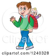 Clipart Of A Happy Father Walking With A Baby On His Back Royalty Free Vector Illustration by visekart