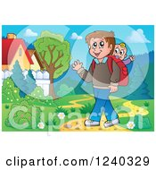 Clipart Of A Happy Father Walking In A Meadow With A Baby On His Back Royalty Free Vector Illustration by visekart
