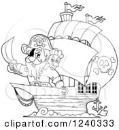 Clipart Of A Black And White Pirate Captain And Parrot At The Front Of A Ship Royalty Free Vector Illustration