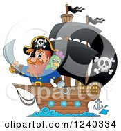 Clipart Of A Pirate Captain And Parrot At The Front Of A Ship Royalty Free Vector Illustration