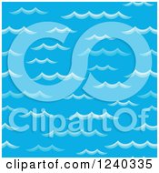 Clipart Of A Seamless Backgorund Of Blue Waves Royalty Free Vector Illustration