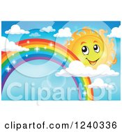 Clipart Of A Happy Sun By A Sparkly Rainbow In The Sky Royalty Free Vector Illustration