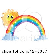 Clipart Of A Happy Sun By A Sparkly Rainbow Royalty Free Vector Illustration