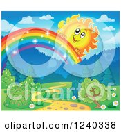 Clipart Of A Happy Sun Over A Sparkly Rainbow And Path Royalty Free Vector Illustration