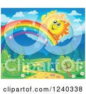 Happy Sun Over A Sparkly Rainbow And Path