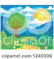 Clipart Of A Sun Over A Path With Trees Royalty Free Vector Illustration