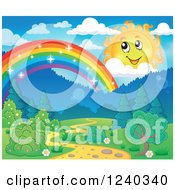 Clipart Of A Happy Sun With Clouds Over A Sparkly Rainbow And Path Royalty Free Vector Illustration