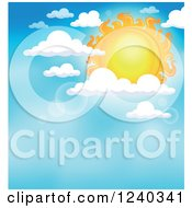 Clipart Of A Sun With Flares And Clouds In The Sky Royalty Free Vector Illustration by visekart