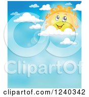 Clipart Of A Happy Sun With Flares In The Sky Royalty Free Vector Illustration