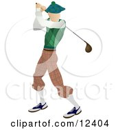 Skinny Caucasian Male Golfer Golfing On The Golf Course Sports Clipart Illustration