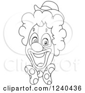 Clipart Of A Black And White Happy Clown Face Royalty Free Vector Illustration