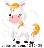 Clipart Of A Cute Farm Animal White Pony Horse Royalty Free Vector Illustration