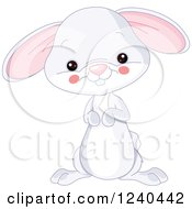 Clipart Of A Cute Farm Animal Bunny Rabbit Royalty Free Vector Illustration by Pushkin
