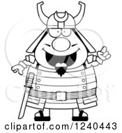 Clipart Of A Black And White Smart Samurai Warrior With An Idea Royalty Free Vector Illustration by Cory Thoman