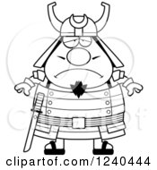 Clipart Of A Black And White Sad Depressed Samurai Warrior Royalty Free Vector Illustration by Cory Thoman