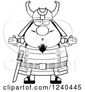 Clipart Of A Black And White Careless Shrugging Samurai Warrior Royalty Free Vector Illustration by Cory Thoman