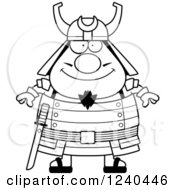 Clipart Of A Black And White Happy Samurai Warrior Royalty Free Vector Illustration by Cory Thoman