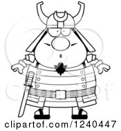 Clipart Of A Black And White Surprised Gasping Samurai Warrior Royalty Free Vector Illustration by Cory Thoman