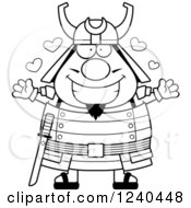 Clipart Of A Black And White Loving Samurai Warrior With Open Arms And Hearts Royalty Free Vector Illustration by Cory Thoman