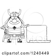Clipart Of A Black And White Happy Samurai Warrior With A Scroll Sign Royalty Free Vector Illustration by Cory Thoman