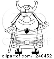 Clipart Of A Black And White Friendly Waving Samurai Warrior Royalty Free Vector Illustration by Cory Thoman