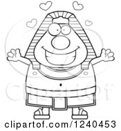 Clipart Of A Black And White Loving Ancient Egyptian Pharaoh With Open Arms And Hearts Royalty Free Vector Illustration