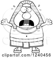 Clipart Of A Black And White Scared Screaming Ancient Egyptian Pharaoh Royalty Free Vector Illustration